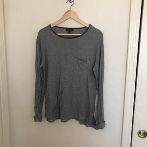 Topshop Gray Striped Long Sleeve